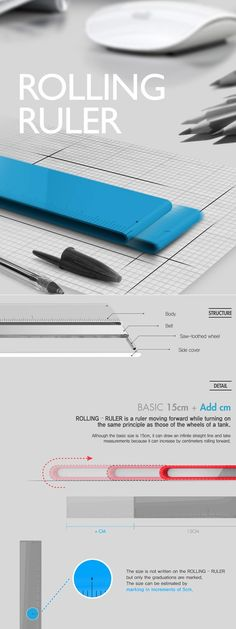 Drawn endlessly long lines with the Rolling Ruler! Modeled on the principles of the moving wheels of a tank, this 15-cm standard ruler can help draw infinite straight lines. Simple and intuitive to use, this one feels classy and design-savvy.