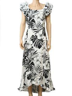 Pacific Legend Hawaiian Ruffle Long Muumuu Dress [Hibiscus & Monstera/White]