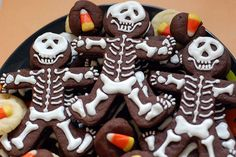 Skeleton cookies from gingerbread man cookie cutters.