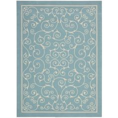 Nourison Home and Garden RS019 Light Blue Area Rug   http://www.arearugstyles.com/nourison-home-and-garden-rs019-light-blue-area-rug.html