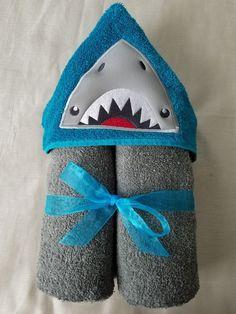 Hooded Bath/Beach Towel,Kids Embroidered Bath Towel,Shark Embroidered Towel,Shark Bath/Beach Towel,Embroidered Hooded Towel,Ready To Ship by RenegadesCreations on Etsy