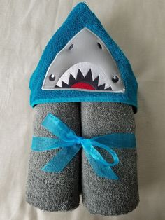 Hooded Bath/Beach Towel,Kids Embroidered Bath Towel,Shark Embroidered Towel,Shark Bath/Beach Towel,Embroidered Hooded Towel,Ready To Ship by RenegadesCreations on Etsy