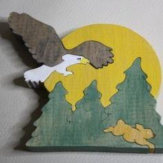 Puzzle en bois aigle et lapin 5 pièces