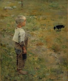 AKSELI GALLEN-KALLELA (1865-1931) The boy and the crow, 1884 Oil on canvas