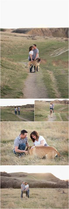 Lindsay and Richard's Engagement Session | Medicine Hat, Alberta. Cute engagement photo ideas for couple at sunset with their pet dog. Couple photo taken by Woods Photography (Canada). #photography #engagement #sunset #dog