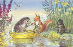 Easter time with a cute little hedgehog, squirrel and mouse with row boat and easter basket - Molly Brett illustrator