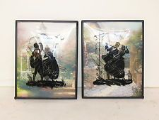 Vtg Pair Reverse Painted Silhouette Convex Bubble Glass Frame Victorian Pictures