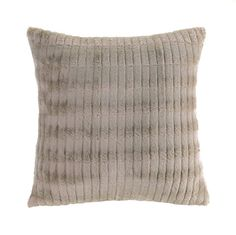 Taupe Faux Fur Modern Throw Pillow