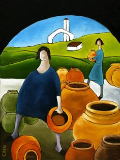Saatchi Online Artist William Cain; Painting, WOMEN SELLING POTS #art   Now available archival prints on canvas or paper add a frame if you like.Just click the link. PLEASE SHARE AND PASS IT ALONG TO YOUR FRIENDS.
