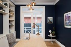 Wattle Pacific Rim paint colour in study at Hamptons Style reno Amity Dry - Winner of The Block All Stars 2013 Australian Interior Design, Interior Design Elements, French Interior, Glass French Doors, French Doors Patio, Glass Doors, French Patio, Hamptons Decor, The Hamptons