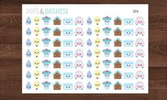S33-Kawaii bill reminder stickers water by DotsandDashesStudio