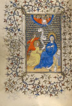 The Annunciation; Unknown; Paris (or), France; about 1410; Tempera colors, gold leaf, gold paint, and ink on parchment; Leaf: 17.9 x 13.3 cm (7 1/16 x 5 1/4 in.); Ms. 36, fol. 25v; J. Paul Getty Museum, Los Angeles, California