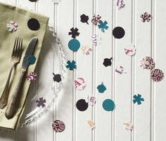 Create easy paper confetti using Paper Source solid papers. Add interest with patterned fine papers.