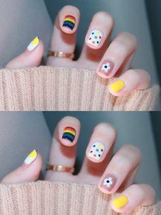 nails Candy nail, Small hand-painted rainbow + wave, Cute, full of vitality Diy Nails Cute, Cute Summer Nails, Funky Nails, Cute Nail Art, Cute Acrylic Nails, Pretty Nails, Pastel Nails, Korean Nail Art, Korean Nails