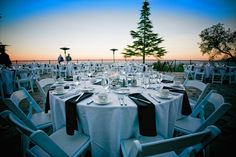 Sunset Wedding Reception!  Where: Chateau Deck at The Mountain Winery, Saratoga CA.  Photo: Annie Rowland Photography