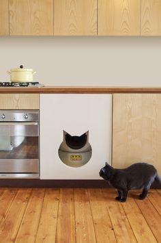 Litter robot in cabinet