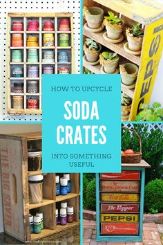 These repurposed soda crate ideas are beyond genius so head out to the flea market and stock up on vintage Coca Cola crates! Diy Crafts Hacks, Diy Home Crafts, Diy Crafts Videos, Creative Crafts, Diy Craft Projects, Diy Crafts To Sell, Handmade Home Decor, Diy Home Decor, Crate Ideas
