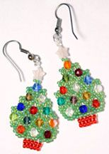 Netted Christmas Tree Earrings Beading Pattern 1 by Ruth Kiel at Bead-Patterns.com