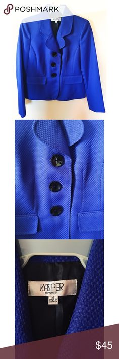 NWOT Royal Blue Blazer Brand new (without tags) blazer in stunning royal blue color. Has faux front pockets, lightly padded shoulders, black buttons, and a great textured look.   🚫 Non-smoking 🐶 Pet-friendly home!  Reasonable offers welcome! Kasper Jackets & Coats Blazers