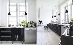 Kitchen along back wall? and windows Black Gloss Kitchen, Black Kitchen Cabinets, Black Kitchens, Dream Kitchens, Decor Interior Design, Interior Decorating, Eclectic Modern, Functional Kitchen, Cuisines Design