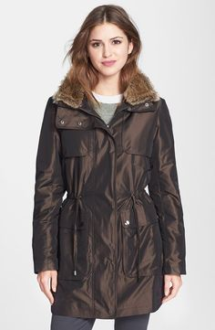Kristen Blake Faux Fur Trim Iridescent Hidden Hood Anorak