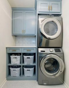 40 Gorgeous Small Laundry Room Design Ideas - Laundry areas, in general, easily end up a place where items are stored, stashed, and procrastinated -- to do later. With small laundry rooms this bec. Laundry Room Cabinets, Laundry Room Organization, Laundry Storage, Closet Storage, Storage Shelves, Diy Cabinets, Storage Room, Laundry Closet, Washer Dryer Closet
