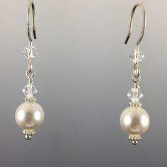White Swarovski Crystal Pearls & Swarovski Crystal Simple Drop Earrings - 8mm