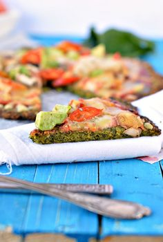 This Kale Pizza Crust is the best low carb pizza ever! Made with healthy kale, cheese and eggs this crust is also a perfect gluten free vegetarian pizza.