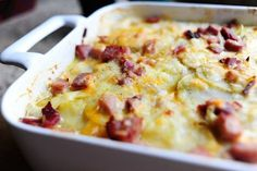 Scalloped Potatoes and Ham, from the Pioneer Woman.    The added a few things: 3 c half and half (no cream), 1/3 c flour (rather than 1/4), garlic powder, onion powder.  GREAT!!!