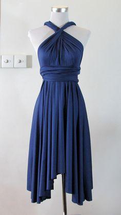 FREE BANDEAU Summer bridesmaid dress Convertible Dress in Navy Blue Infinity Dress Multiway Dress Dark Blue knee length length Wrap dress