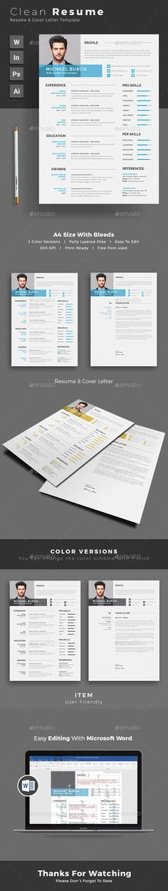 Professional Resume \/ CV Template PSD, INDD, Vector EPS \ AI - professional fonts for resume