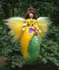 SUMMER FLOWER FAIRY Needle Felted Wool Doll Angel Faeries Soft Sculpture Waldorf Inspired