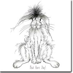 Bad Hare Day Greeting Card от TheSkinnyCardCompany на Etsy