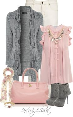 feminine outfit in pink and grey