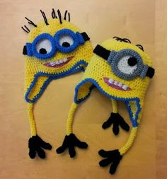 Crochet Minon hats from the Despicable Me movies - makes for a great Halloween costume too