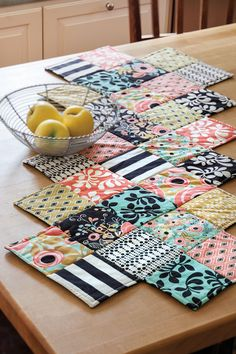 Dress up your table in playful floral and bold prints-only the high heels are missing! Zig Zag runner by Jenny Doan.