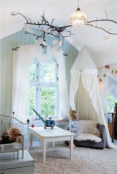 Adorable ideas for cozy kids reading nooks. Dont have to be a kids room, I have been wanting to do a twig with birds on it for some time now.