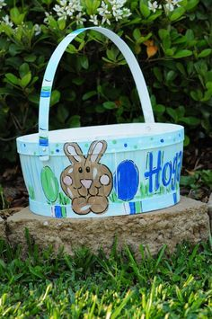 Hand Painted Easter Basket by monogrammadness12 on Etsy, $35.00