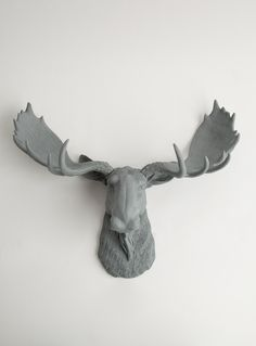 The Wellington | Moose Head | Faux Taxidermy | Gray Resin - White Faux Taxidermy