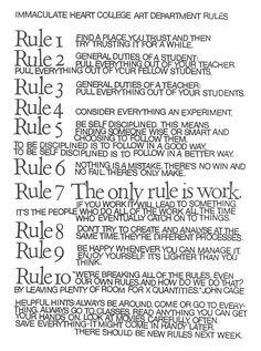 Ten Rules Poster – Sister Corita Kent. Corita Art Center.
