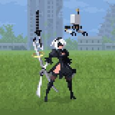 "- Pixel art, animation, fanart - [""fanart of NieR: Automata""] Cool Pixel Art, Anime Pixel Art, Katana, 2d Game Art, Video Game Art, Nail Bat, Boca Anime, Pixel Life, Design Club"