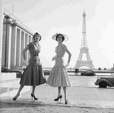 wehadfacesthen:  Models wearing day dresses by Jacques Heim, Paris, 1954, photo by Fred Brommet