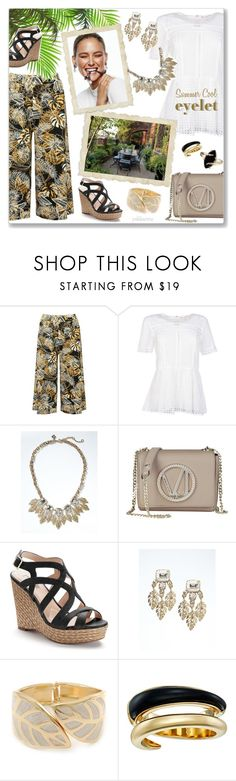 """""""Summer Cool Eyelet"""" by pwhiteaurora ❤ liked on Polyvore featuring M&Co, MICHAEL Michael Kors, Banana Republic, Versace, Jennifer Lopez, Michael Kors and eyelet"""