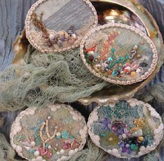 I ❤ beadwork & embroidery . . .  Sea Brooches ~By Pat Winter