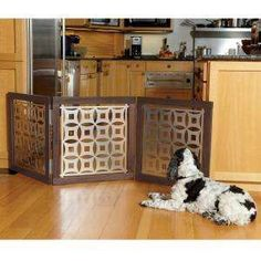diy dog gate - could so make this! I'm thinking 3 picture frames, then plexi inserts and stencil. Look out garage sales, here I come!