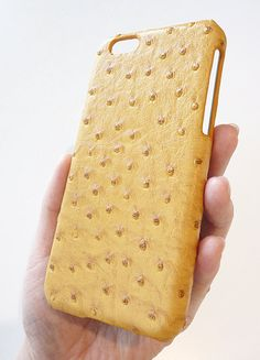 For Apple iPhone 6 4.7  Yellow Ostrich Leather Phone Case by Yunikuna