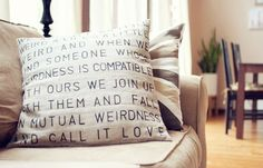 DIY Men Gift Ideas {Just for HIM}...Handmade stencil pillow    Use a scale with alphabets to stencil words. And fill them up with sharpie. Great idea!  You can go super creative with stencil pillow.