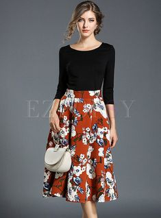 Shop for high quality Floral Print Stitching Three Quarters Sleeve Skater Dress online at cheap prices and discover fashion at Ezpopsy.com