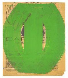 Ellsworth Kelly ~ Green Form, 1959 (oil on newsprint)
