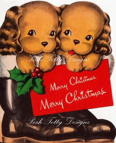 Twin Puppies Merry Christmas Vintage Greetings by poshtottydesignz, $2.50